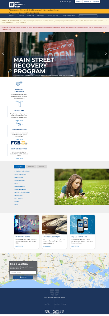 First Guaranty Bancshares, Inc. Website Screenshot