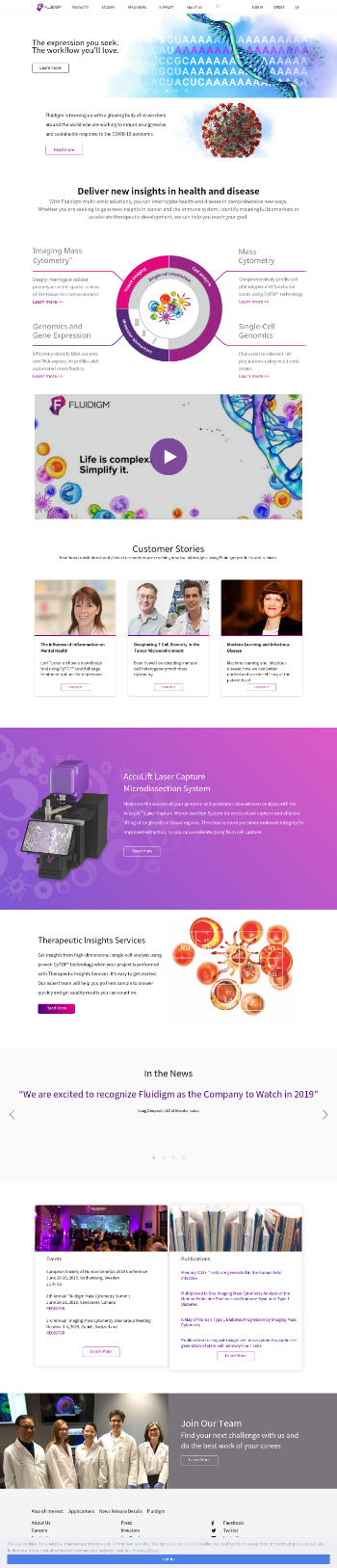 Fluidigm Corporation Website Screenshot