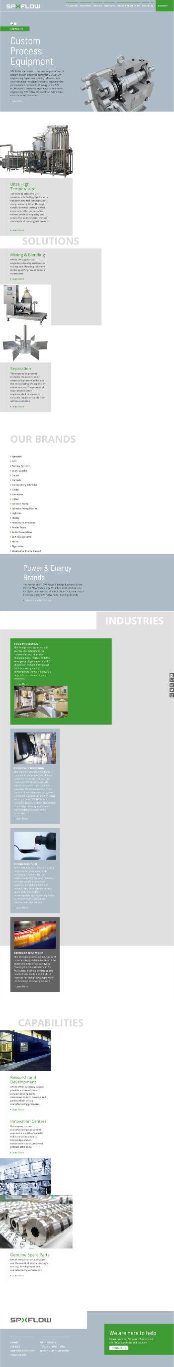 SPX FLOW, Inc. Website Screenshot