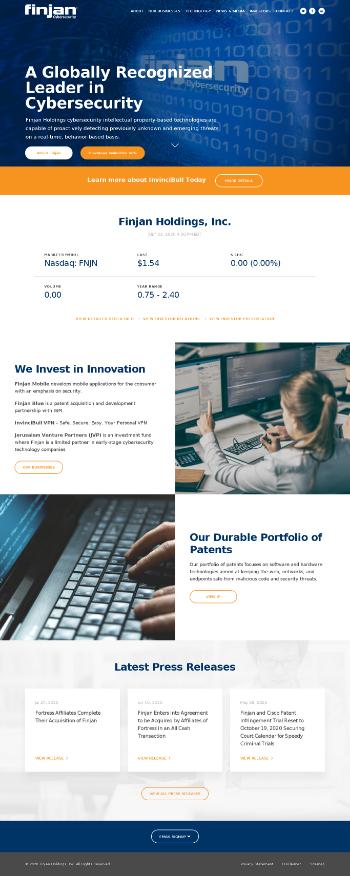 Finjan Holdings, Inc. Website Screenshot