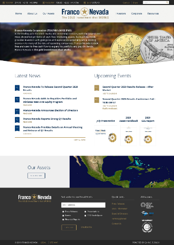 Franco-Nevada Corporation Website Screenshot