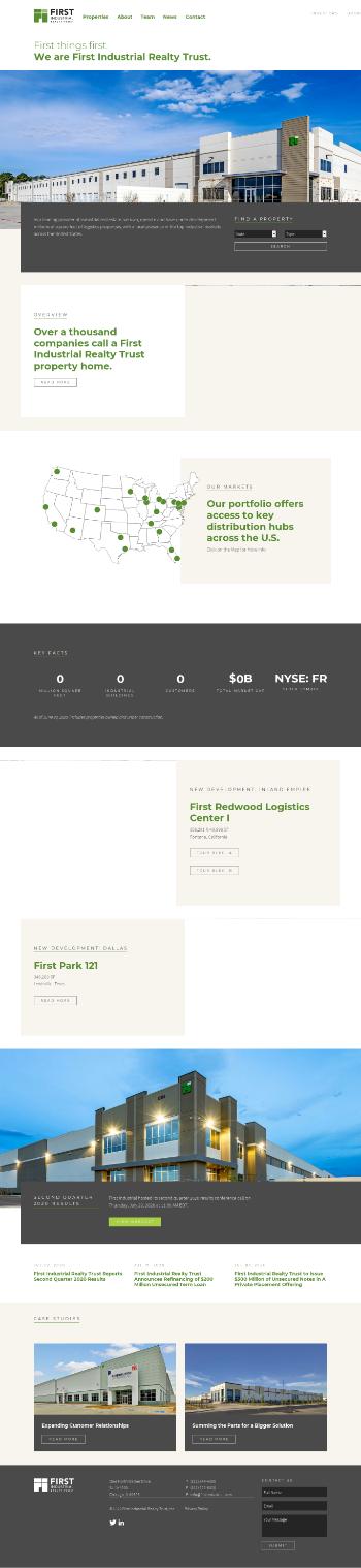 First Industrial Realty Trust, Inc. Website Screenshot