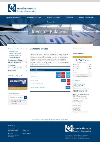Franklin Financial Services Corporation Website Screenshot