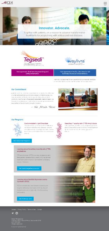 Akcea Therapeutics, Inc. Website Screenshot
