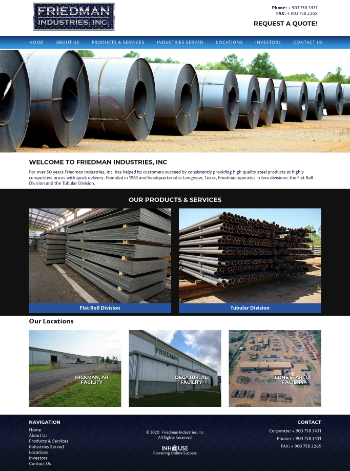 Friedman Industries, Incorporated Website Screenshot
