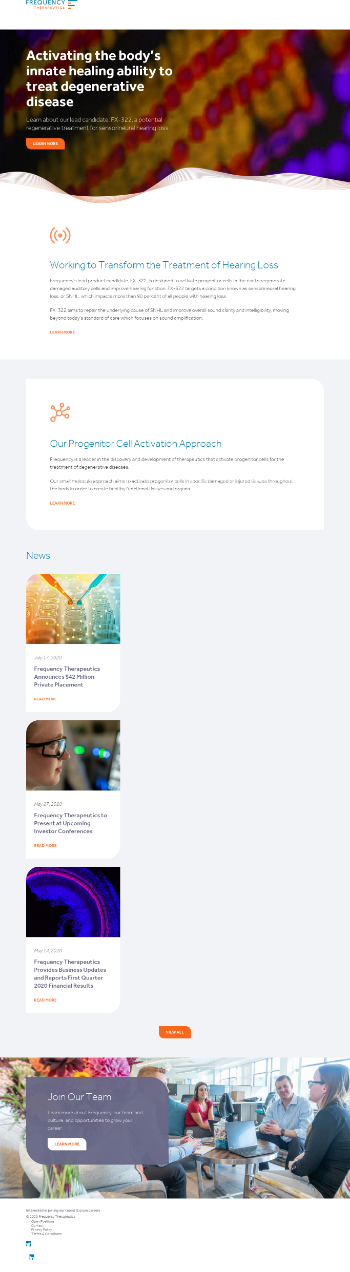 Frequency Therapeutics, Inc. Website Screenshot