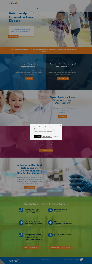 Albireo Pharma, Inc. Website Screenshot