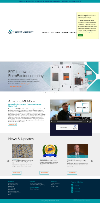 FormFactor, Inc. Website Screenshot