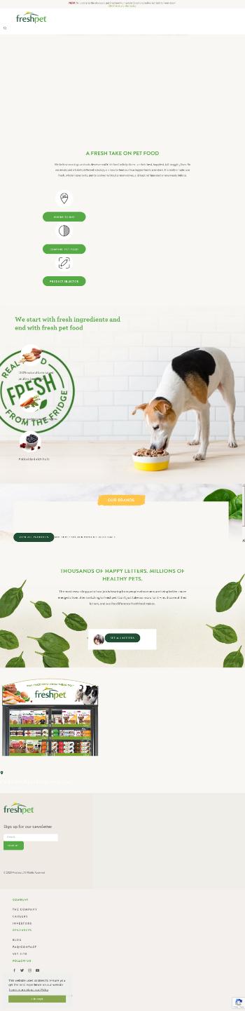 Freshpet, Inc. Website Screenshot