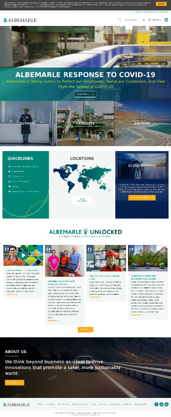 Albemarle Corporation Website Screenshot