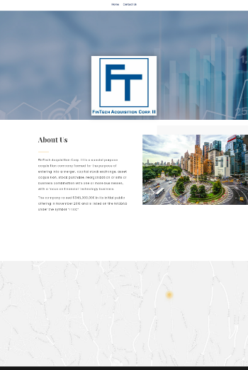 FinTech Acquisition Corp. III Website Screenshot