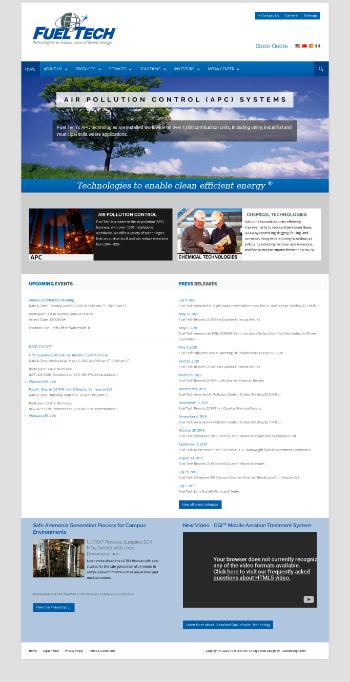 Fuel Tech, Inc. Website Screenshot