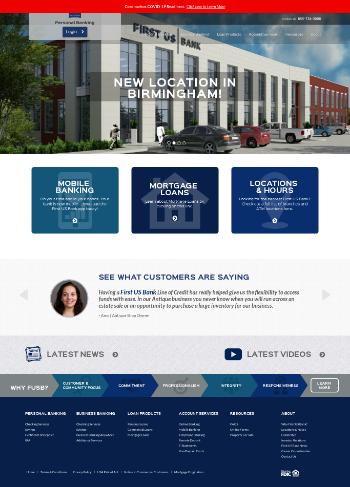 First US Bancshares, Inc. Website Screenshot