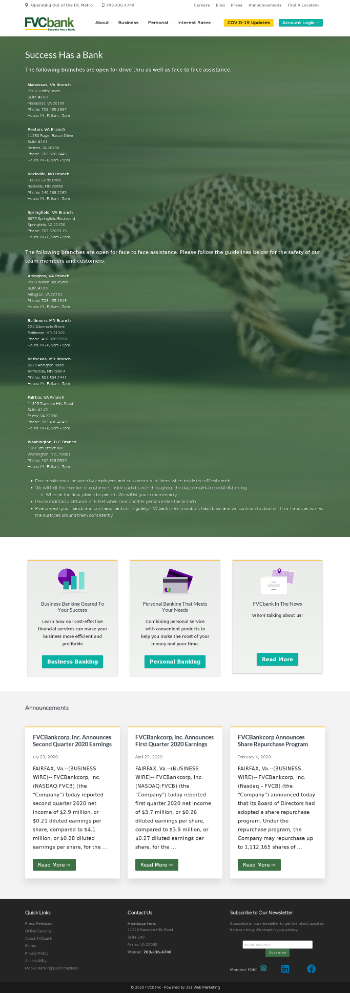 FVCBankcorp, Inc. Website Screenshot