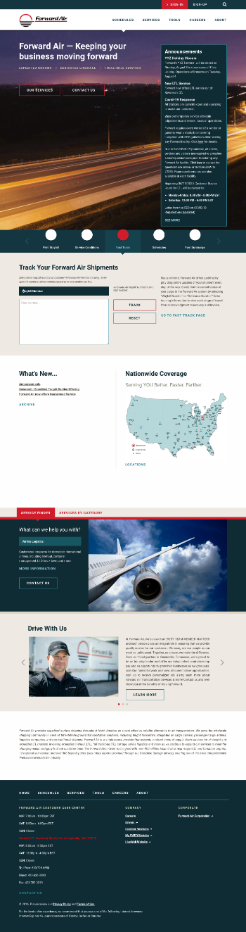 Forward Air Corporation Website Screenshot
