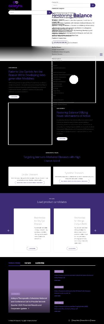 Aldeyra Therapeutics, Inc. Website Screenshot