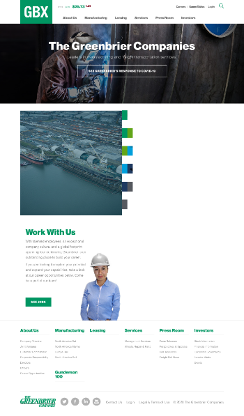 The Greenbrier Companies, Inc. Website Screenshot