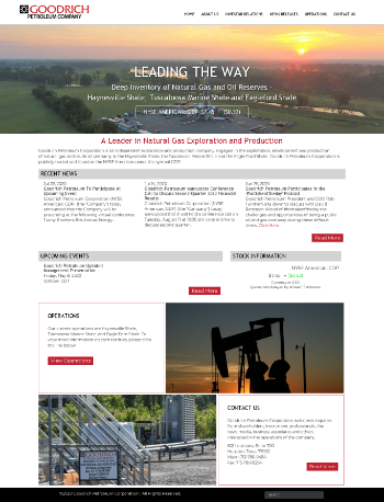Goodrich Petroleum Corporation Website Screenshot
