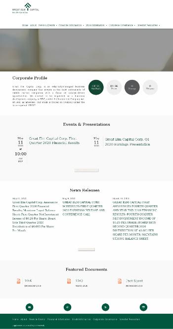 Great Elm Capital Corporation Website Screenshot