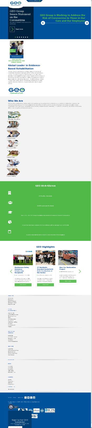 The GEO Group, Inc. Website Screenshot