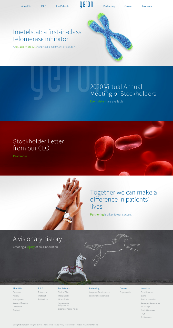 Geron Corporation Website Screenshot