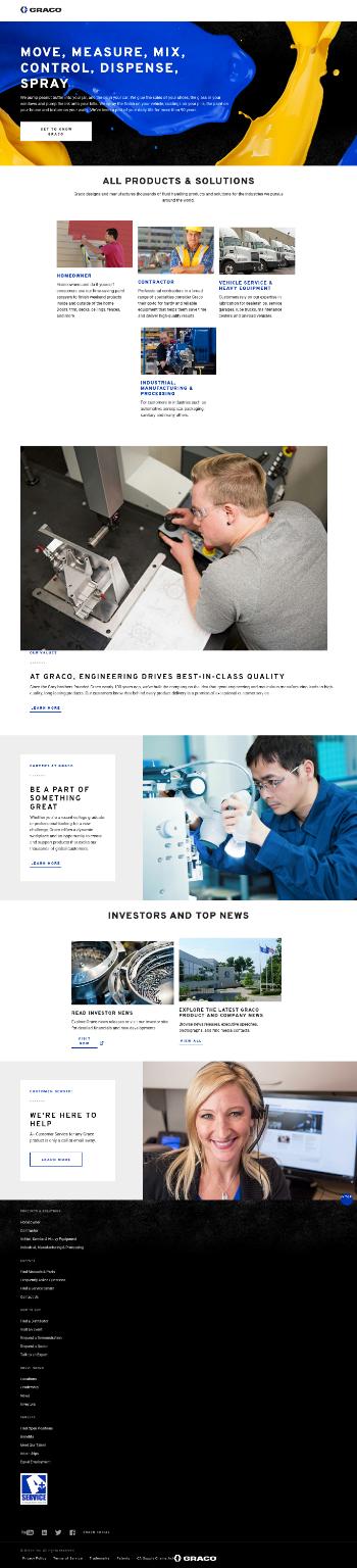 Graco Inc. Website Screenshot