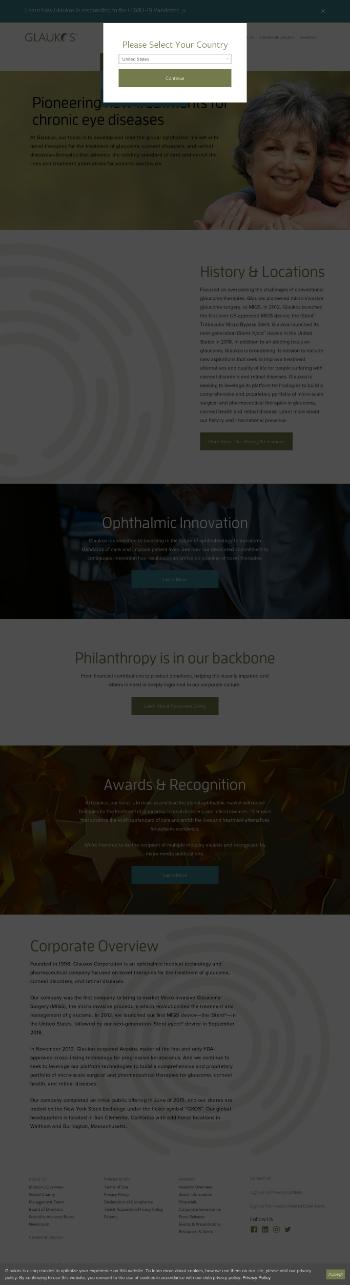 Glaukos Corporation Website Screenshot
