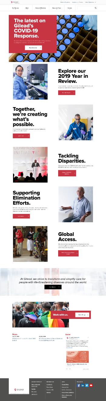 Gilead Sciences, Inc. Website Screenshot