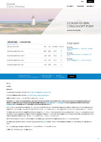 Clough Global Dividend and Income Fund Website Screenshot