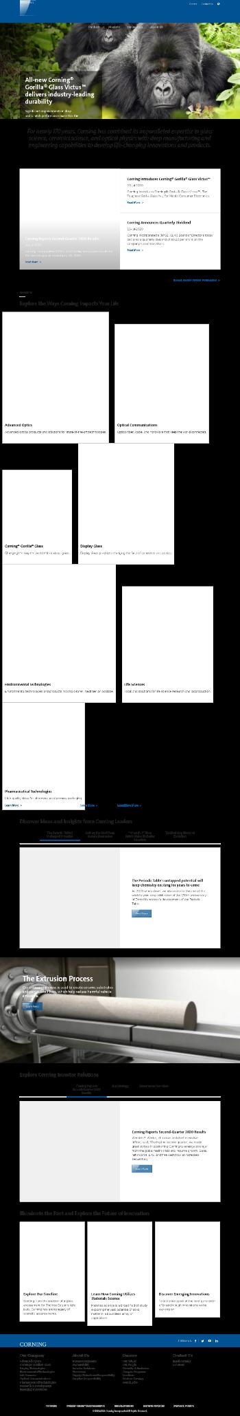 Corning Incorporated Website Screenshot
