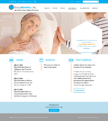 GlycoMimetics, Inc. Website Screenshot