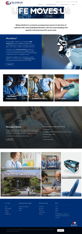 Globus Medical, Inc. Website Screenshot