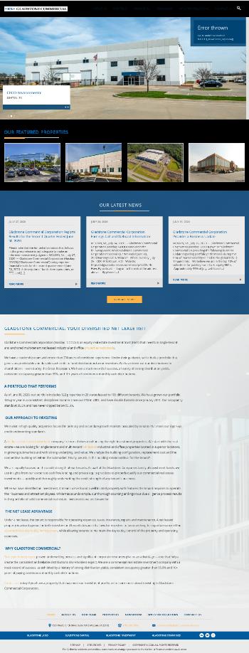 Gladstone Commercial Corporation Website Screenshot