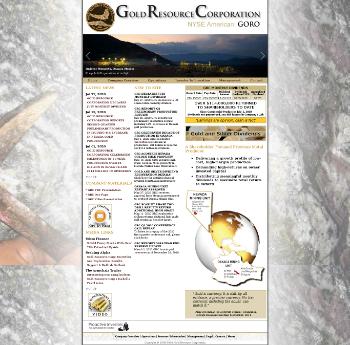 Gold Resource Corporation Website Screenshot