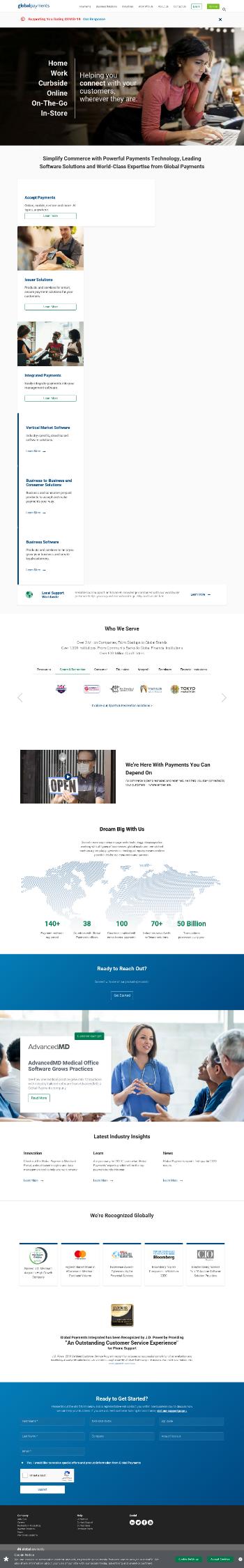 Global Payments Inc. Website Screenshot