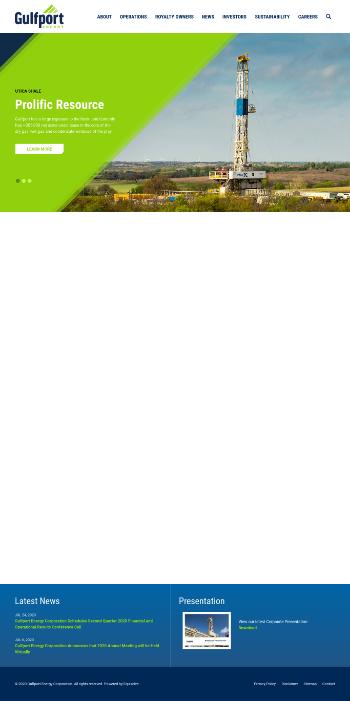 Gulfport Energy Corporation Website Screenshot