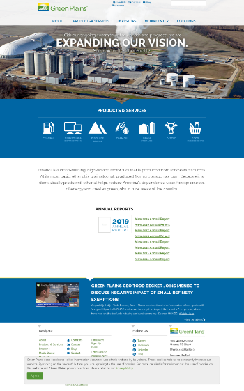 Green Plains Inc. Website Screenshot