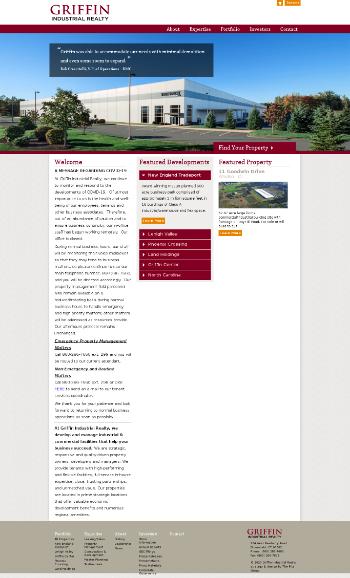 Griffin Industrial Realty, Inc. Website Screenshot