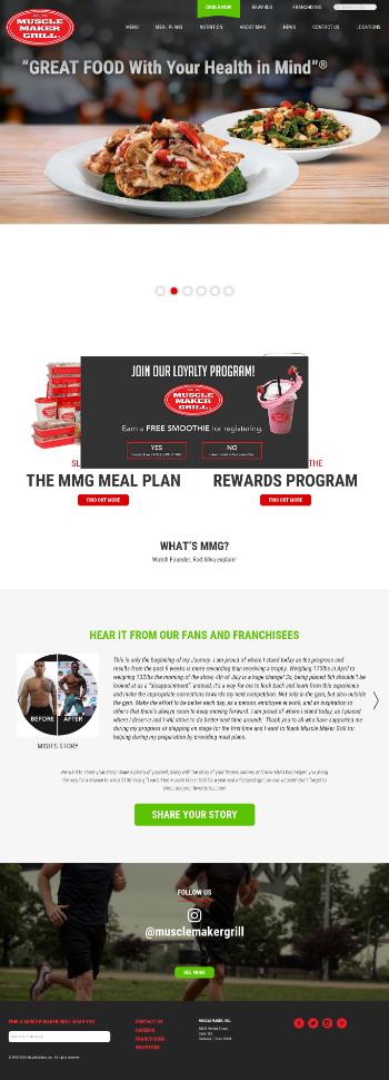 Muscle Maker, Inc. Website Screenshot