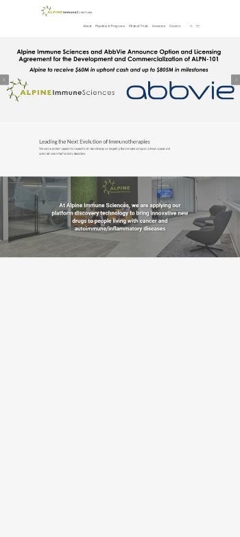 Alpine Immune Sciences, Inc. Website Screenshot