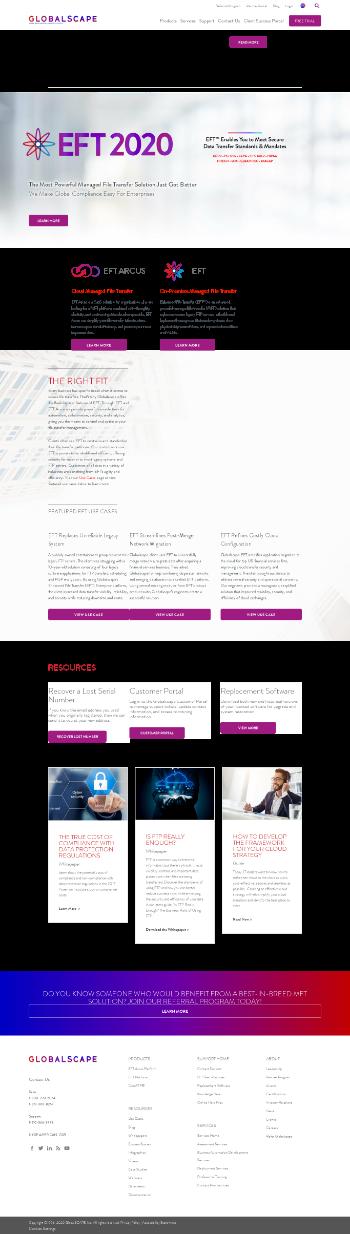 GlobalSCAPE, Inc. Website Screenshot