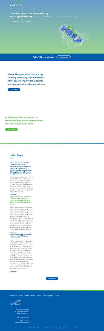 Aileron Therapeutics, Inc. Website Screenshot