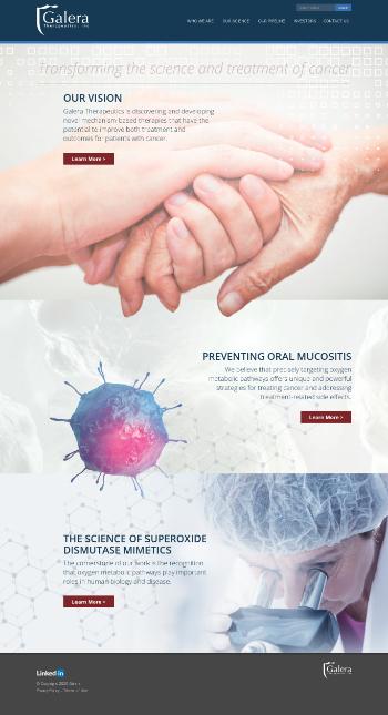 Galera Therapeutics, Inc. Website Screenshot