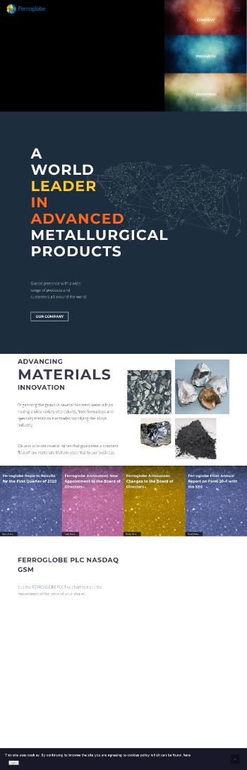 Ferroglobe PLC Website Screenshot
