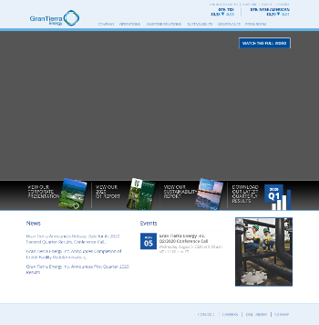 Gran Tierra Energy Inc. Website Screenshot