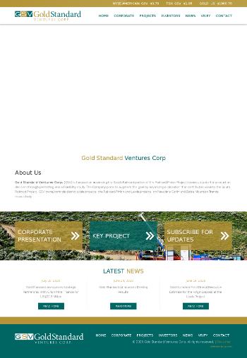 Gold Standard Ventures Corp Website Screenshot