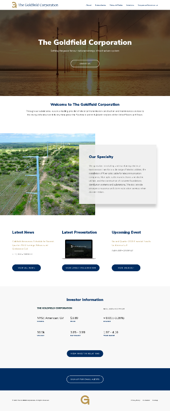 The Goldfield Corporation Website Screenshot