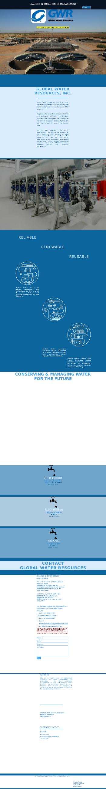 Global Water Resources, Inc. Website Screenshot