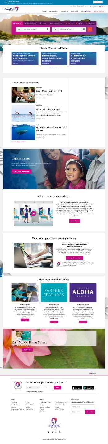 Hawaiian Holdings, Inc. Website Screenshot