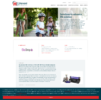 Harvard Bioscience, Inc. Website Screenshot